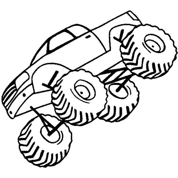 Monster Truck, : Jumping Monster Truck Coloring Page