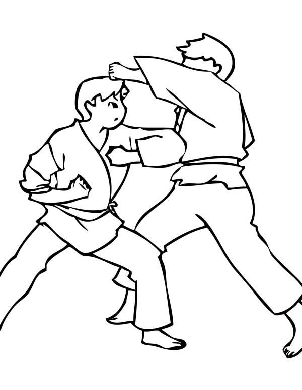 Karate Kid, : Karate Kid Elbow Strike Coloring Page