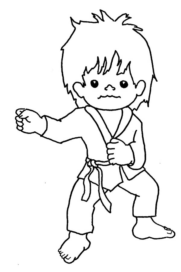 Karate Kid, : Karate Kid Punching Techniques Coloring Page