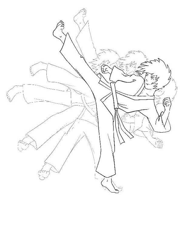 Karate Kid, : Karate Kid Shadow Kick Coloring Page