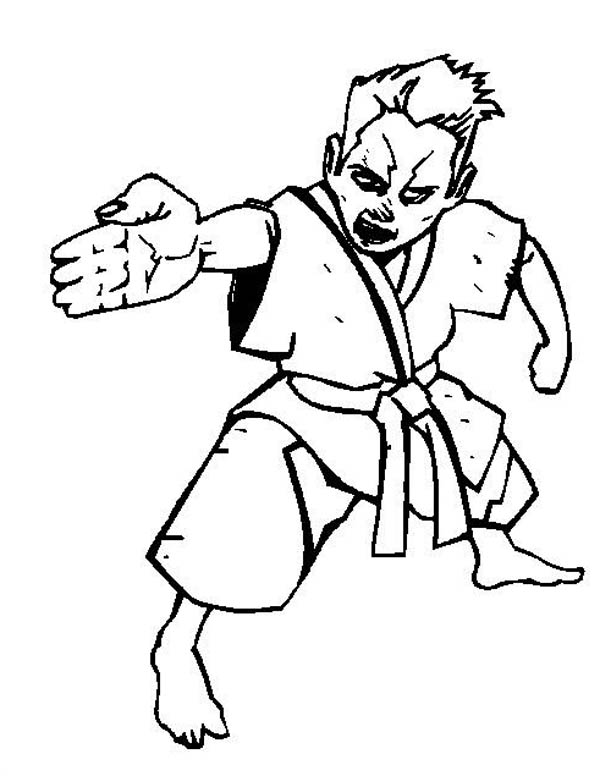 Karate Kid, : Karate Kid Spear Hand Style Coloring Page