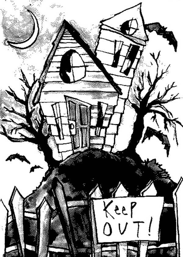 Haunted House, : Keep Out from Haunted House Coloring Page