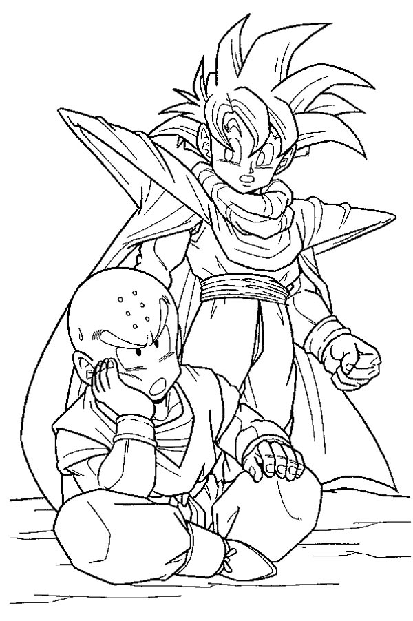 Dragon Ball Z, : Krillin and Gohan Waiting for Cell in Dragon Ball Z Coloring Page