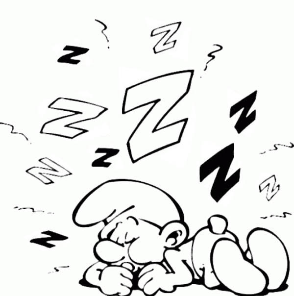 The Smurf, : Lazy Smurf is Sleeping in The Smurf Coloring Page