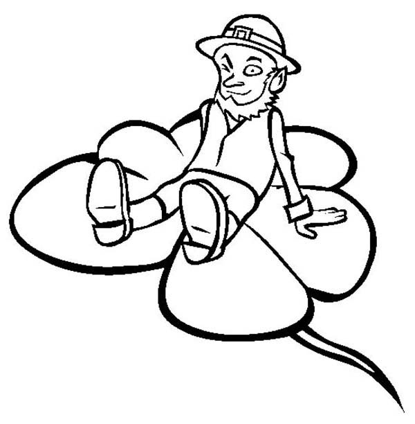 Leprechaun, : Leprechaun Sitting on Giant Shamrock Coloring Page