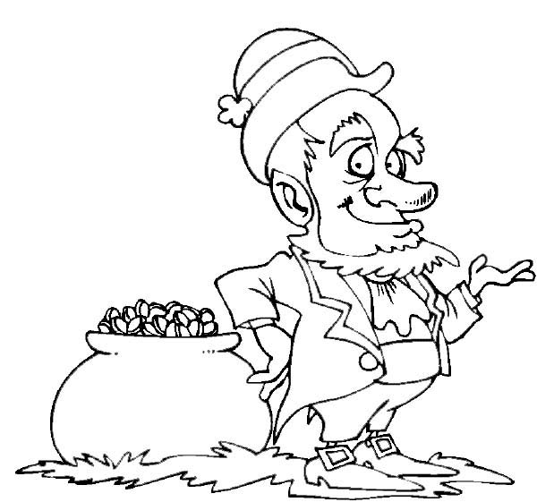 Leprechaun, : Leprechaun Waiting Beside the Pot of Gold Coloring Page