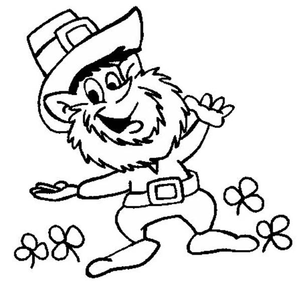 Leprechaun, : Leprechaun Welcoming St Patricks Day by Dancing Coloring Page