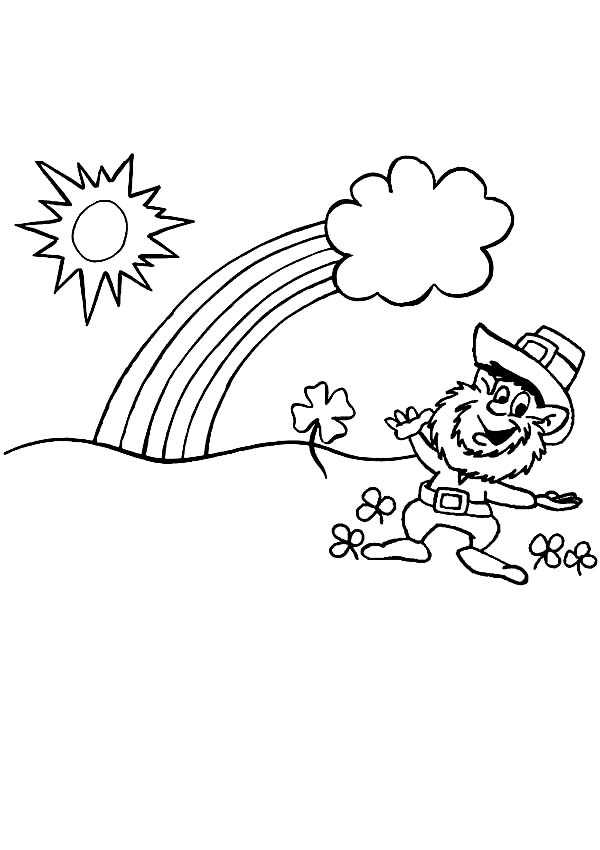 Leprechaun, : Leprechaun Welcoming the Rainbow and a Pot of Gold Coloring Page