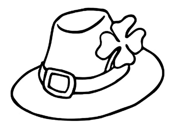 Leprechaun, : Leprechauns Hat and a Four-Leaf Clovers Coloring Page
