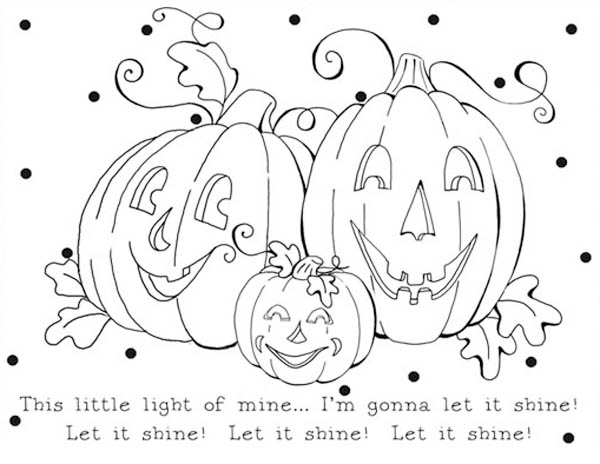 Pumpkins, : Let It Shine Pumpkins Coloring Page