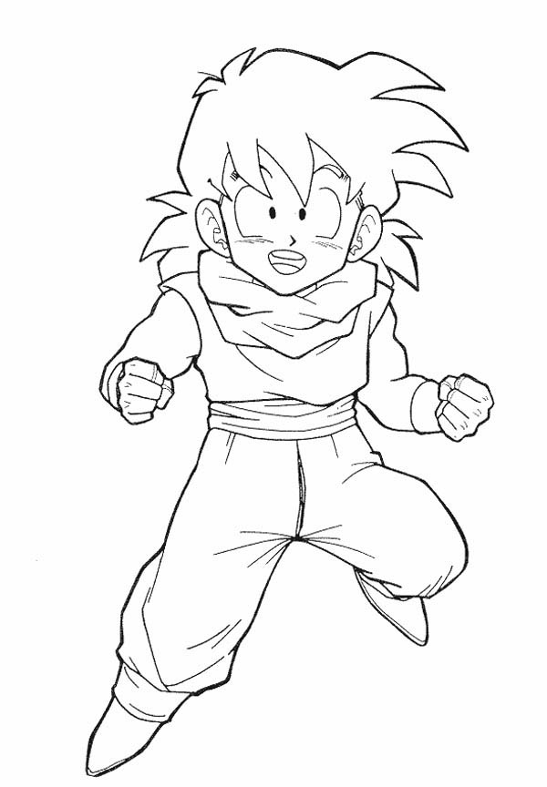 Dragon Ball Z, : Little Gohan Train for Battle in Dragon Ball Z Coloring Page