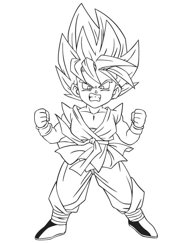 Dragon Ball Z, : Little Goku Super Saiyan 2 Form in Dragon Ball Z Coloring Page