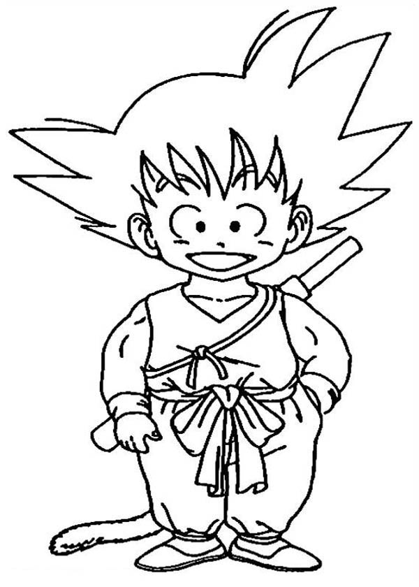 Dragon Ball Z, : Little Goku in Dragon Ball Z Coloring Page
