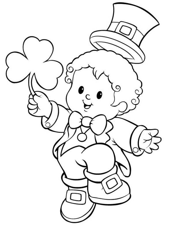 St Patricks Day, : Little Kid in Leprechaun Costume Celebrating St Patricks Day Coloring Page