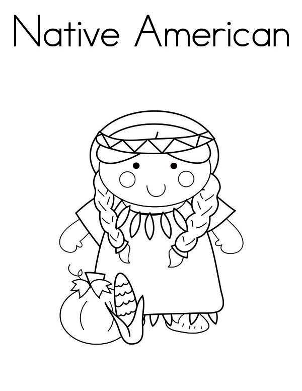 Native American, : Little Native American Girl Coloring Page