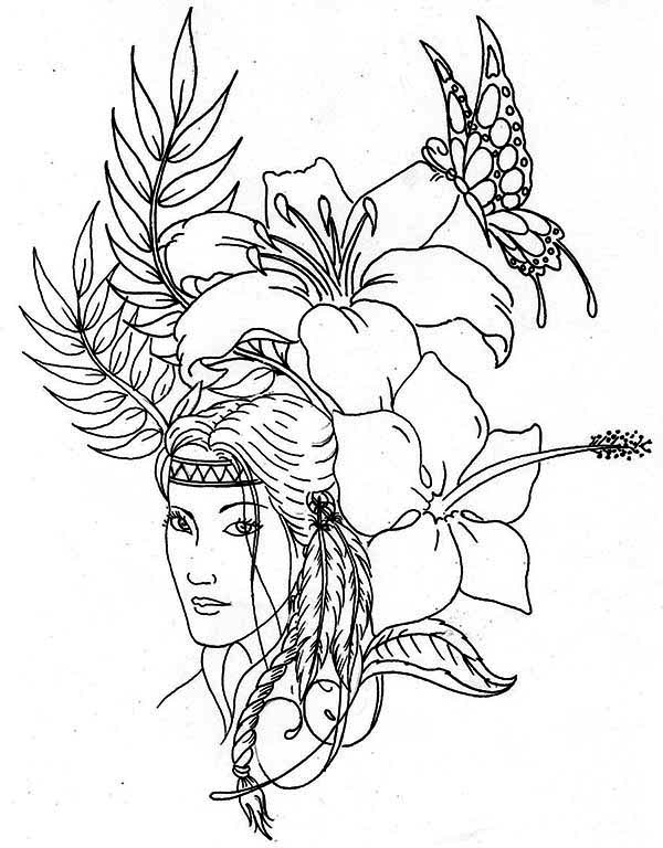 Native American, : Lovely Native American Coloring Page