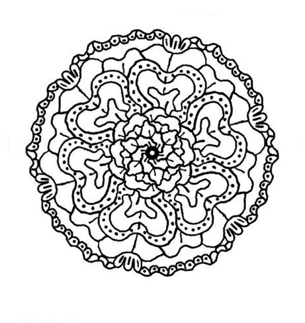 Flowers, : Mandala Flower Coloring Page