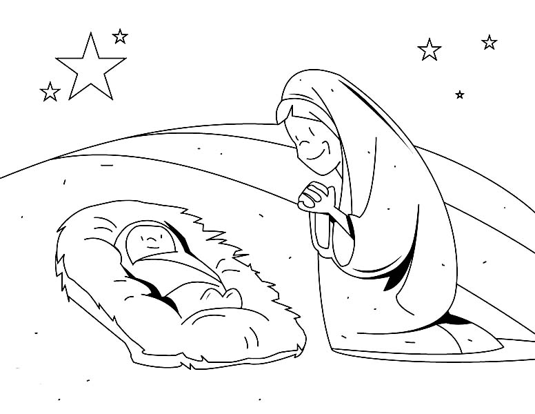 Baby Jesus, : Mary Adore Baby Jesus Coloring Page