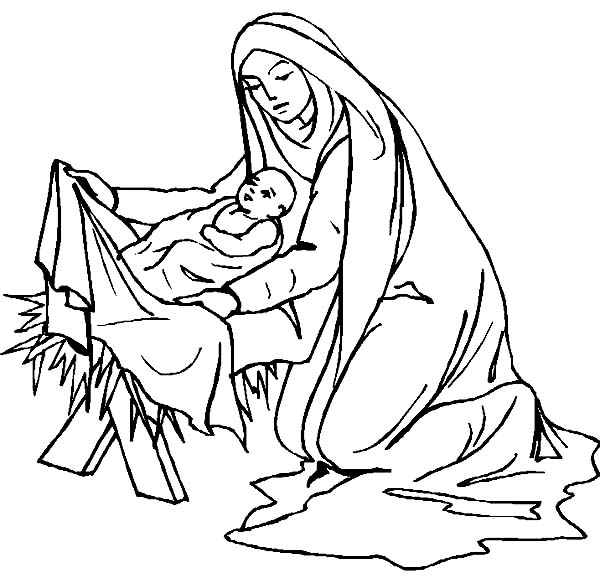 Baby Jesus, : Mary Covered Baby Jesus Body with Fabric Coloring Page