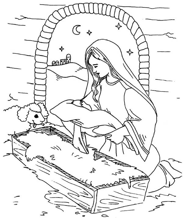 Baby Jesus, : Mary Put Baby Jesus on a Manger Coloring Page