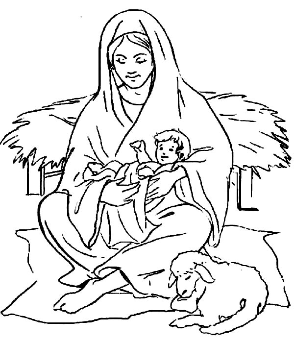 Baby Jesus, : Mary Sitting with Baby Jesus and a Shep Coloring Page