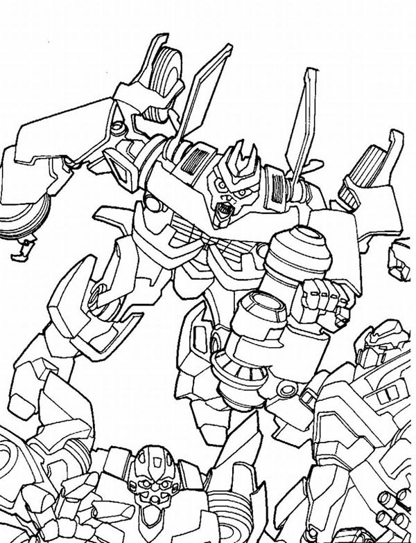 Transformers, : Megatron Try to Hurt Bumblebee inTransformers Coloring Page