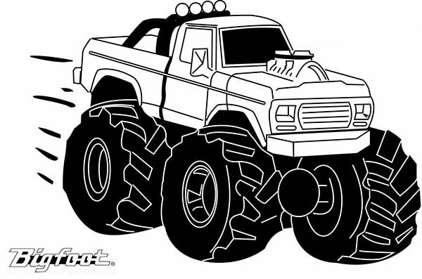 Monster Truck, : Mohawk Warrior Monster Truck Coloring Page