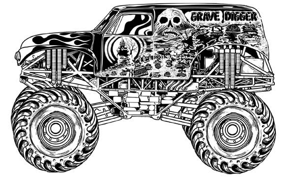 Monster Truck Grave Digger Coloring Page : Kids Play Color