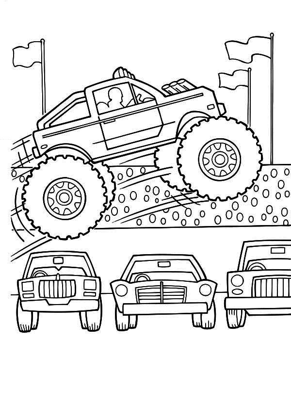 Monster Truck, : Monster Truck Jumps Over Cars Coloring Page
