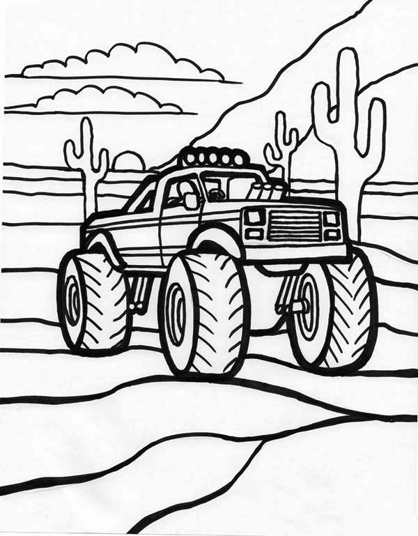 Monster Truck, : Monster Truck and Sunset Coloring Page