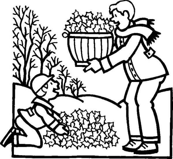Fall Leaf, : Mother and Son Collecting Fall Leaf Coloring Page