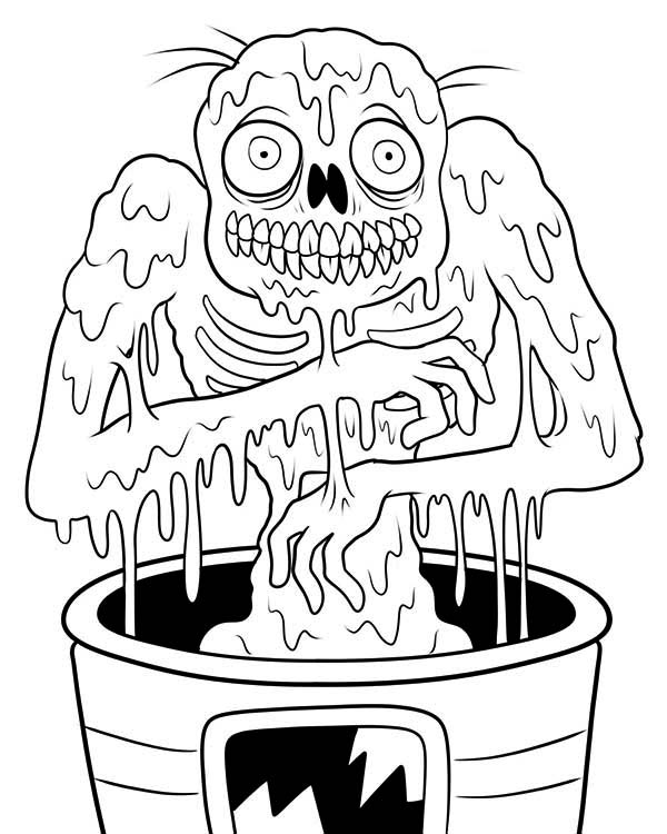 Zombie, : Muddy Zombie Coloring Page