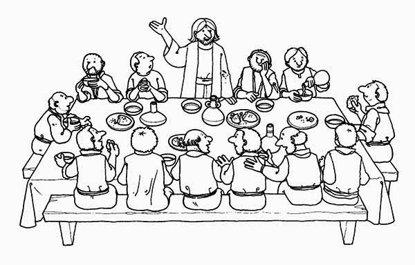 Last Supper, : Mystical Supper in Last Supper Coloring Page