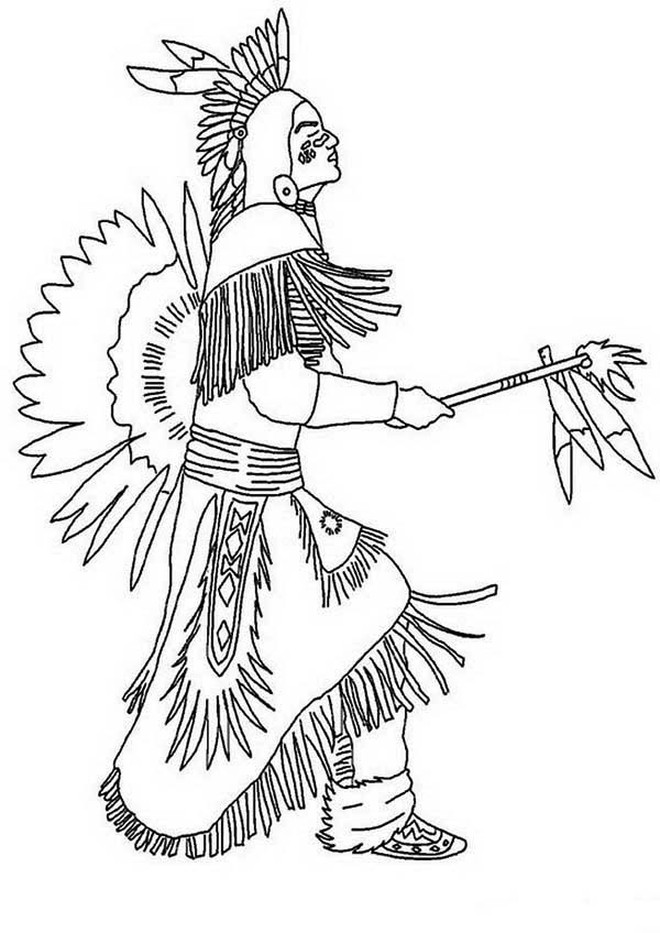 Native American, : Native American Doing Pow Wow Dance Coloring Page