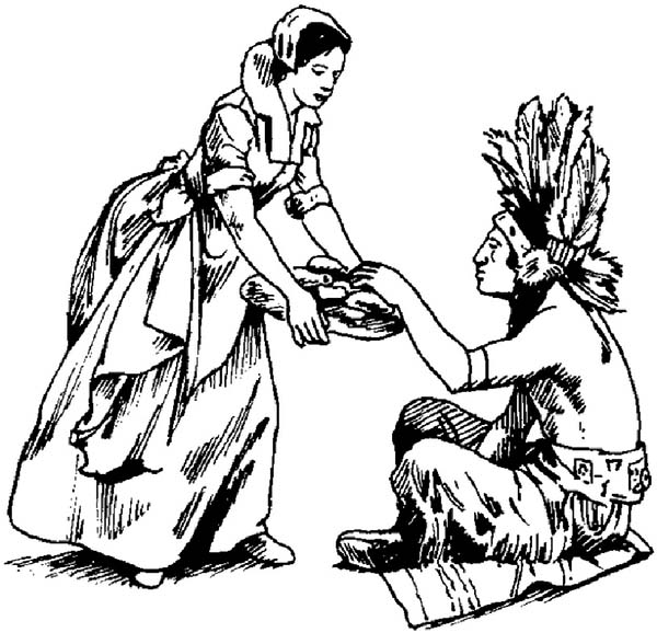Native American, : Native American Eating Coloring Page