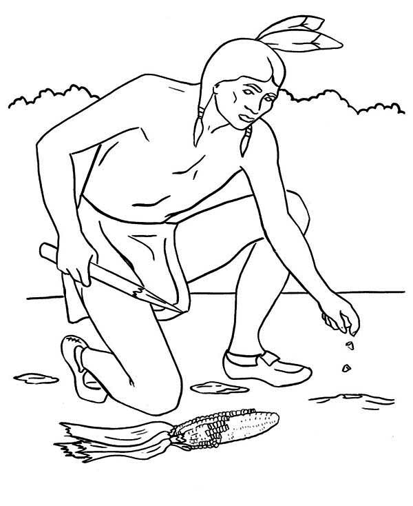 Native American, : Native American Planting Maize Seed Coloring Page