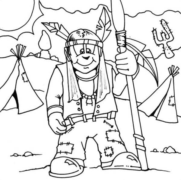 Native American, : Native American Prepare to Hunt for Food Coloring Page