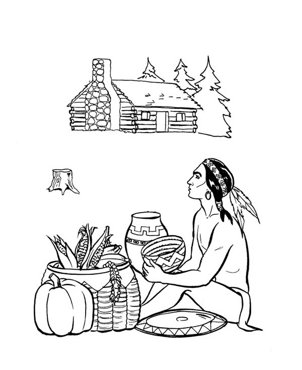 Native American, : Native American Trading Vegetables Coloring Page
