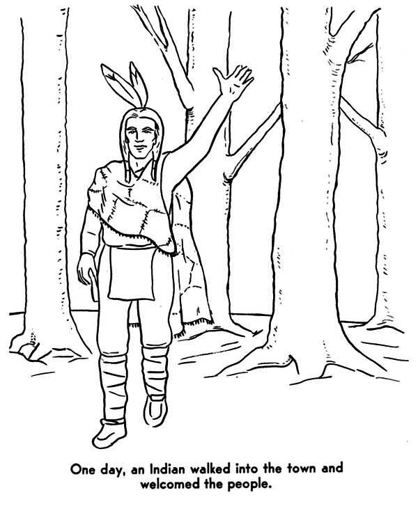 Native American, : Native American Welcoming People Coloring Page