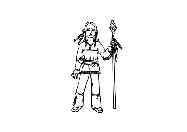 Native American, : Native American and Spears Coloring Page