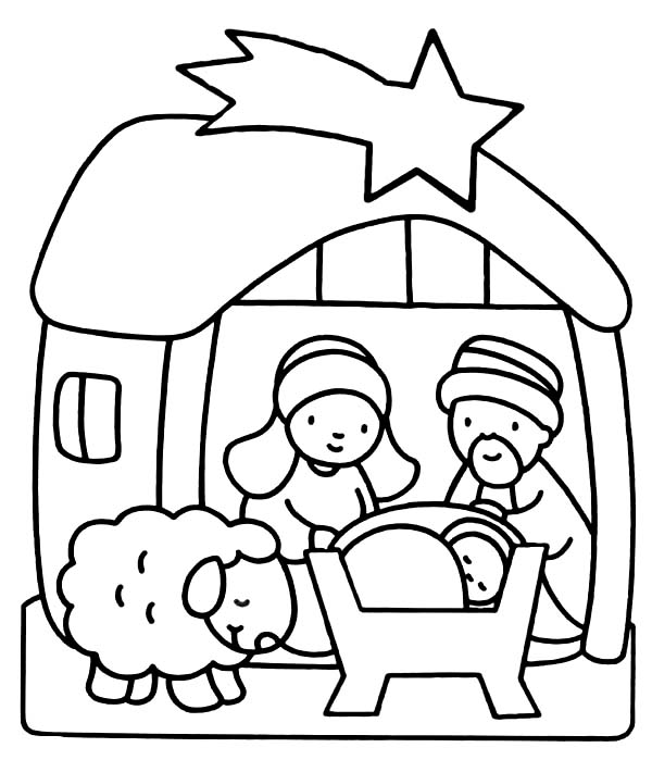 Nativity Of Baby Jesus Coloring Page Kids Play Color