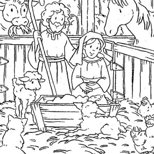 Nativity Of Baby Jesus In A Manger Coloring Page : Kids Play Color