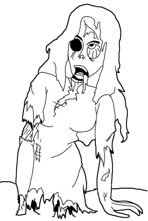 Zombie, : One Eyed Zombie Coloring Page