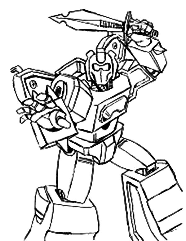Transformers, : Optimus Prime Fight with Sword Transformers Coloring Page