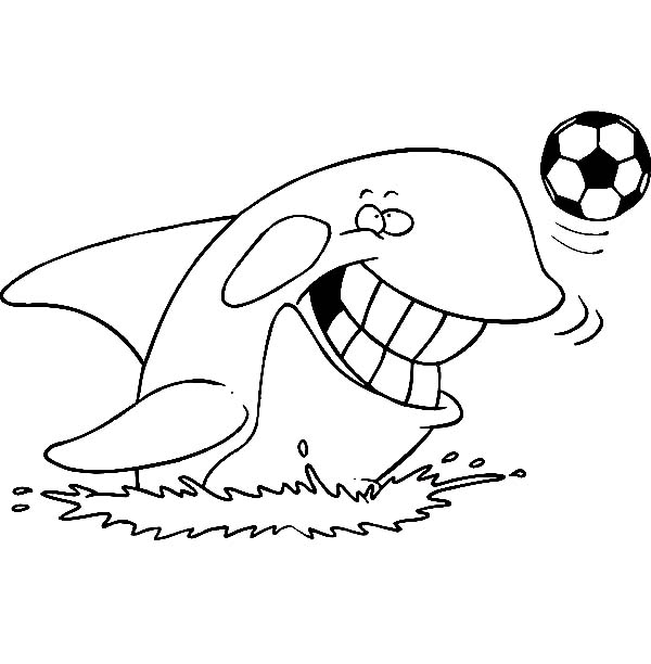 Whale, : Orca the Killer Whale Playing Football Coloring Page