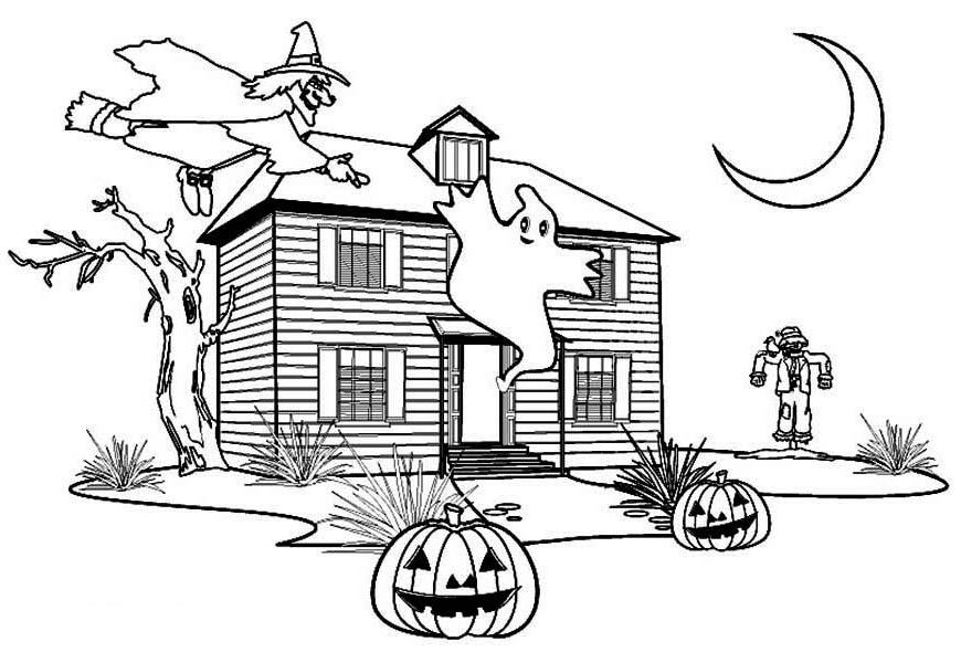 Haunted House, : Perfect Haunted House Coloring Page