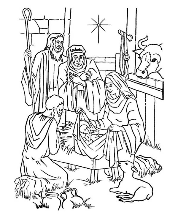 Baby Jesus, : Picture Nativity of Baby Jesus Coloring Page