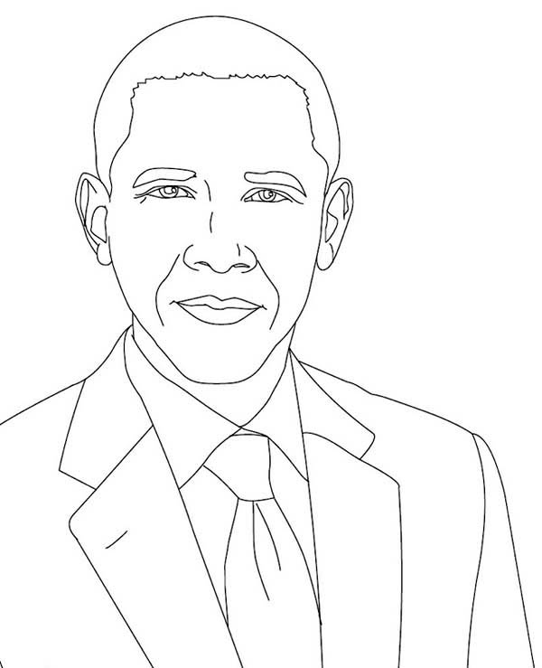 Barack Obama, : Picture of Barack Obama Coloring Page