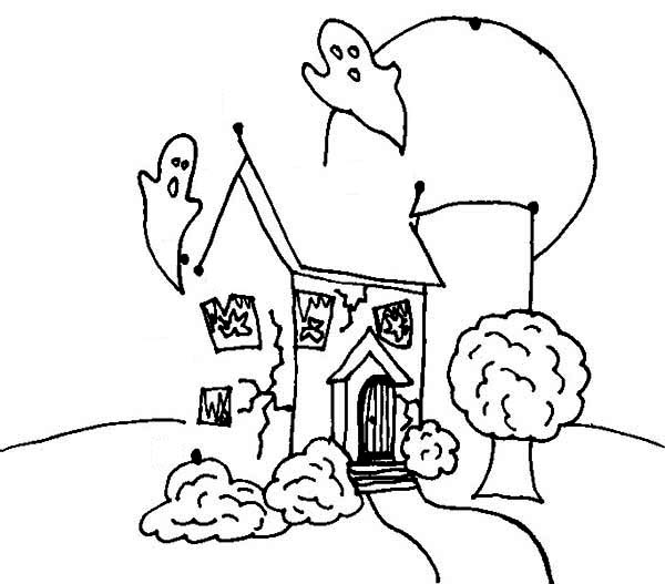 Haunted House, : Pictuure of Haunted House Coloring Page