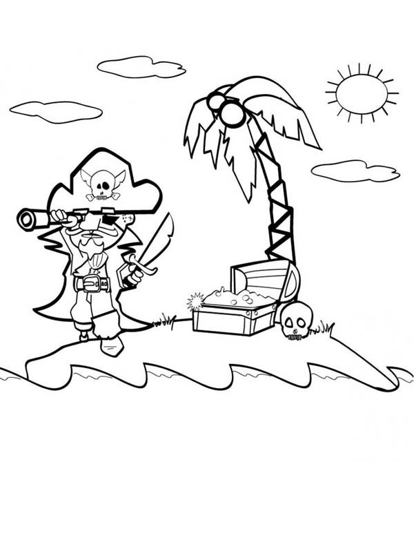 Treasure Map, : Pirate Find Gold with Treasure Map Coloring Page
